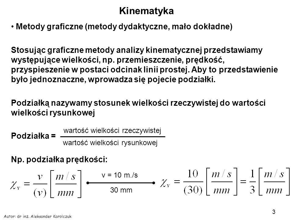Autor: dr inż. Aleksander Karolczuk 3 Kinematyka Metody graficzne (metody dydaktyczne, mało dokładne) Stosując graficzne metody analizy kinematycznej