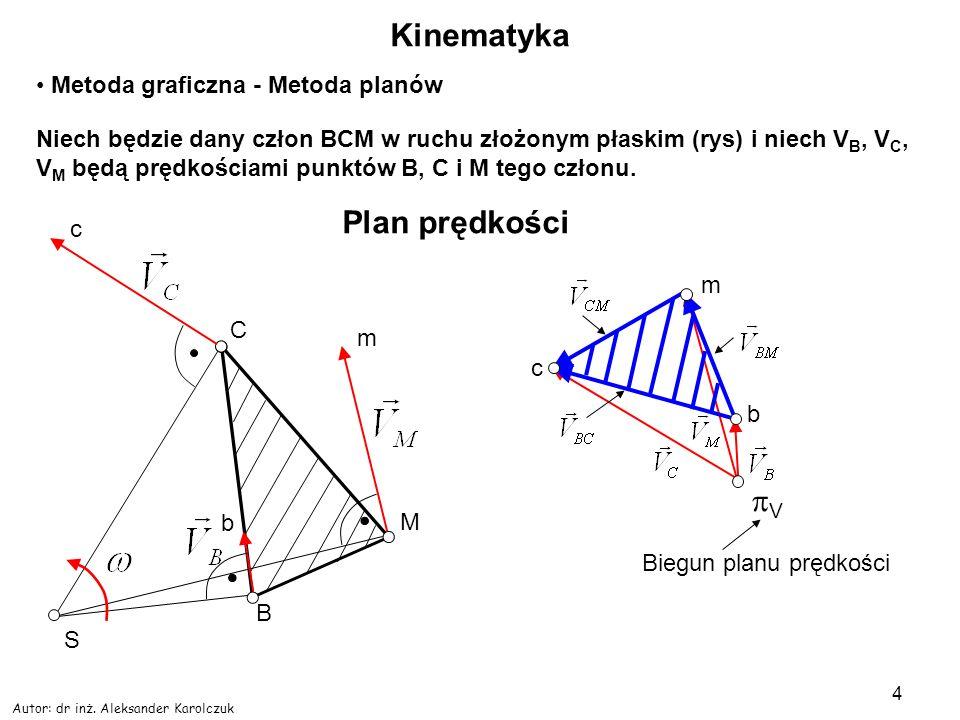 Autor: dr inż. Aleksander Karolczuk 4 Kinematyka Metoda graficzna - Metoda planów Niech będzie dany człon BCM w ruchu złożonym płaskim (rys) i niech V