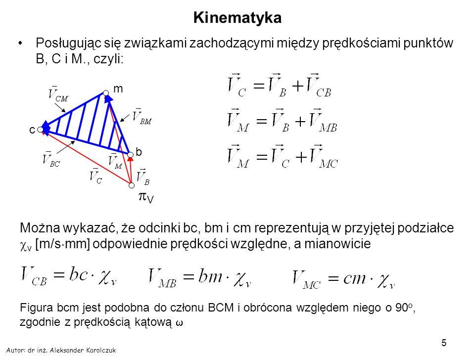 Autor: dr inż. Aleksander Karolczuk 5 Kinematyka Posługując się związkami zachodzącymi między prędkościami punktów B, C i M., czyli: V c m b Można wyk