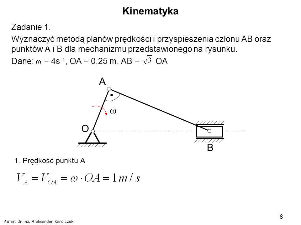 Autor: dr inż. Aleksander Karolczuk 8 Kinematyka Zadanie 1. Wyznaczyć metodą planów prędkości i przyspieszenia członu AB oraz punktów A i B dla mechan