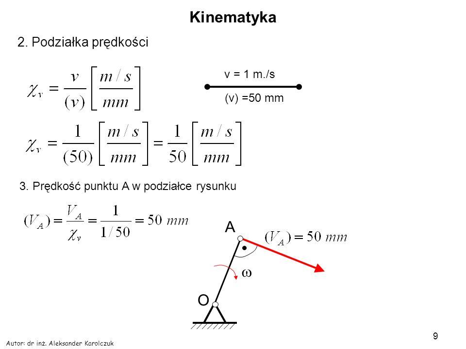 Autor: dr inż. Aleksander Karolczuk 9 Kinematyka 2. Podziałka prędkości (v) =50 mm v = 1 m./s 3. Prędkość punktu A w podziałce rysunku A O