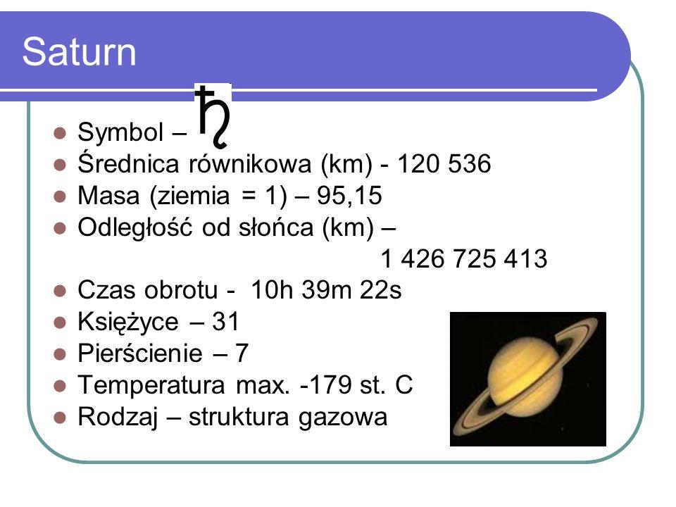 Symbol – Średnica równikowa (km) - 120 536 Masa (ziemia = 1) – 95,15 Odległość od słońca (km) – 1 426 725 413 Czas obrotu - 10h 39m 22s Księżyce – 31