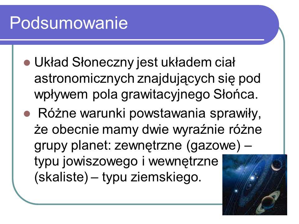 Podsumowanie Układ Słoneczny jest układem ciał astronomicznych znajdujących się pod wpływem pola grawitacyjnego Słońca. Różne warunki powstawania spra