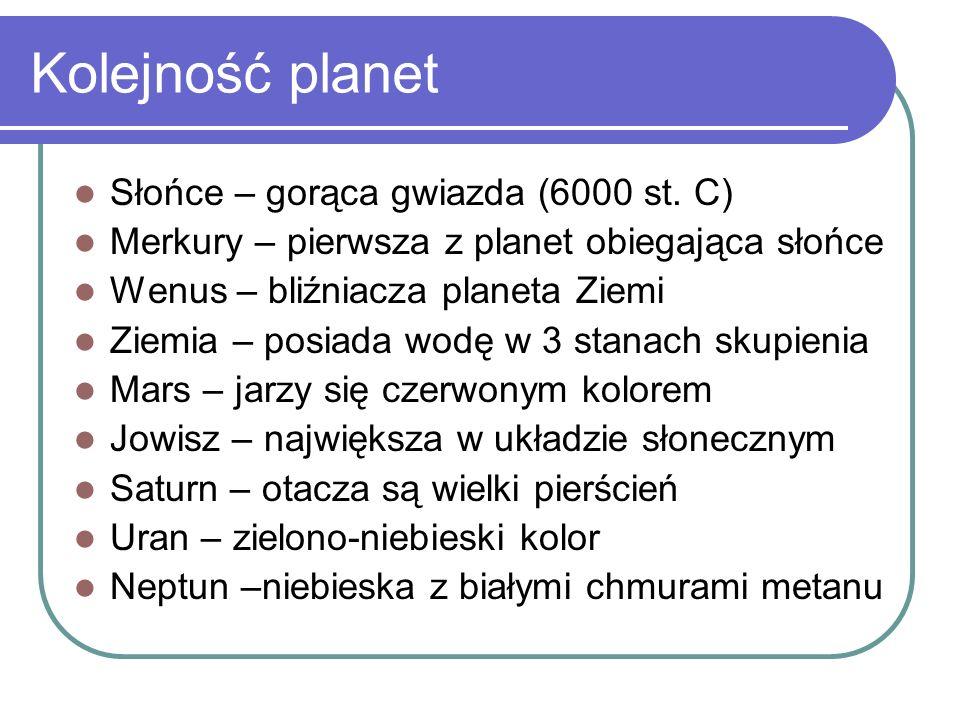 Kolejność planet Słońce – gorąca gwiazda (6000 st. C) Merkury – pierwsza z planet obiegająca słońce Wenus – bliźniacza planeta Ziemi Ziemia – posiada