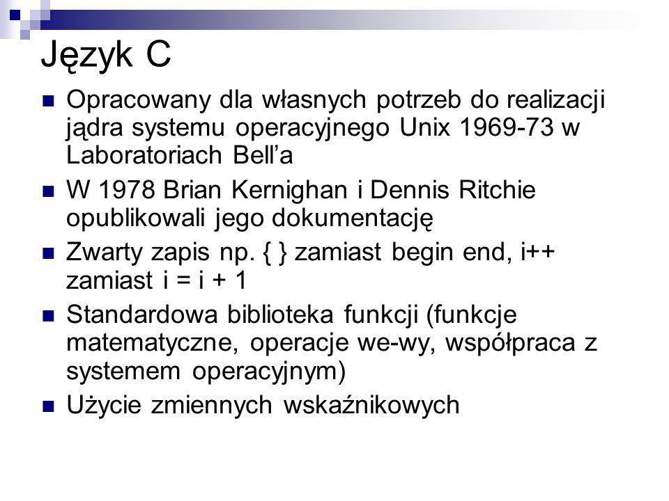 Język C Opracowany dla własnych potrzeb do realizacji jądra systemu operacyjnego Unix 1969-73 w Laboratoriach Bella W 1978 Brian Kernighan i Dennis Ri