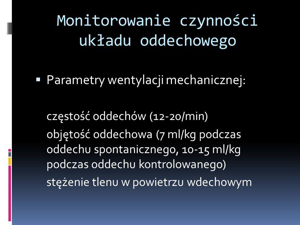 Monitorowanie czynności układu oddechowego Parametry wentylacji mechanicznej: częstość oddechów (12-20/min) objętość oddechowa (7 ml/kg podczas oddech