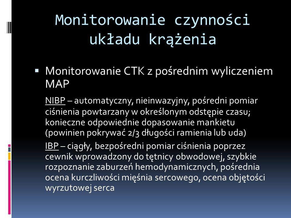 Monitorowanie czynności układu krążenia Monitorowanie CTK z pośrednim wyliczeniem MAP NIBP – automatyczny, nieinwazyjny, pośredni pomiar ciśnienia pow