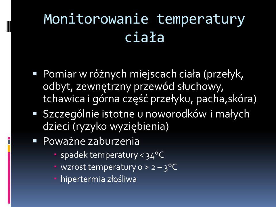 Monitorowanie temperatury ciała Pomiar w różnych miejscach ciała (przełyk, odbyt, zewnętrzny przewód słuchowy, tchawica i górna część przełyku, pacha,