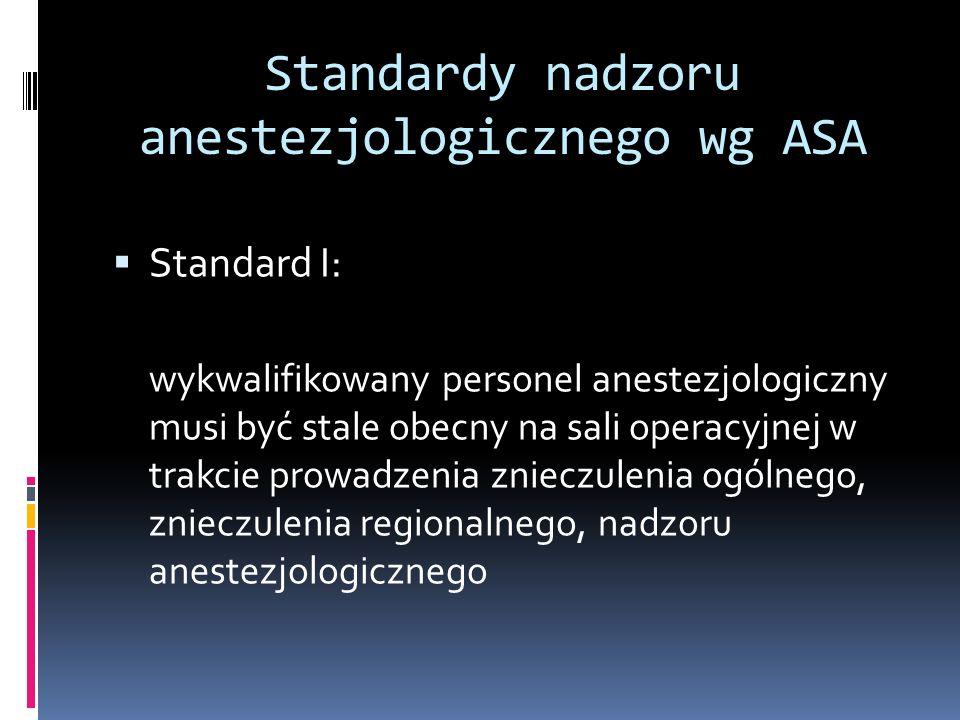 Standardy nadzoru anestezjologicznego wg ASA Standard II: w trakcie prowadzenia znieczulenia oksygenacja, parametry wentylacji, parametry układu krążenia i temperatura powinny być monitorowane w sposób ciągły Standards for Basic Anesthetic Monitoring, approved by ASA on 21/10/1986, last amended on 25/10/2005