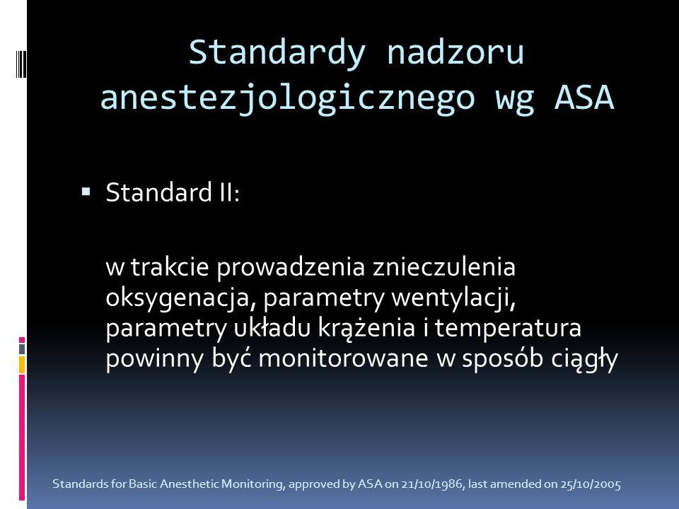 Standardy nadzoru anestezjologicznego wg ASA Standard II: w trakcie prowadzenia znieczulenia oksygenacja, parametry wentylacji, parametry układu krąże