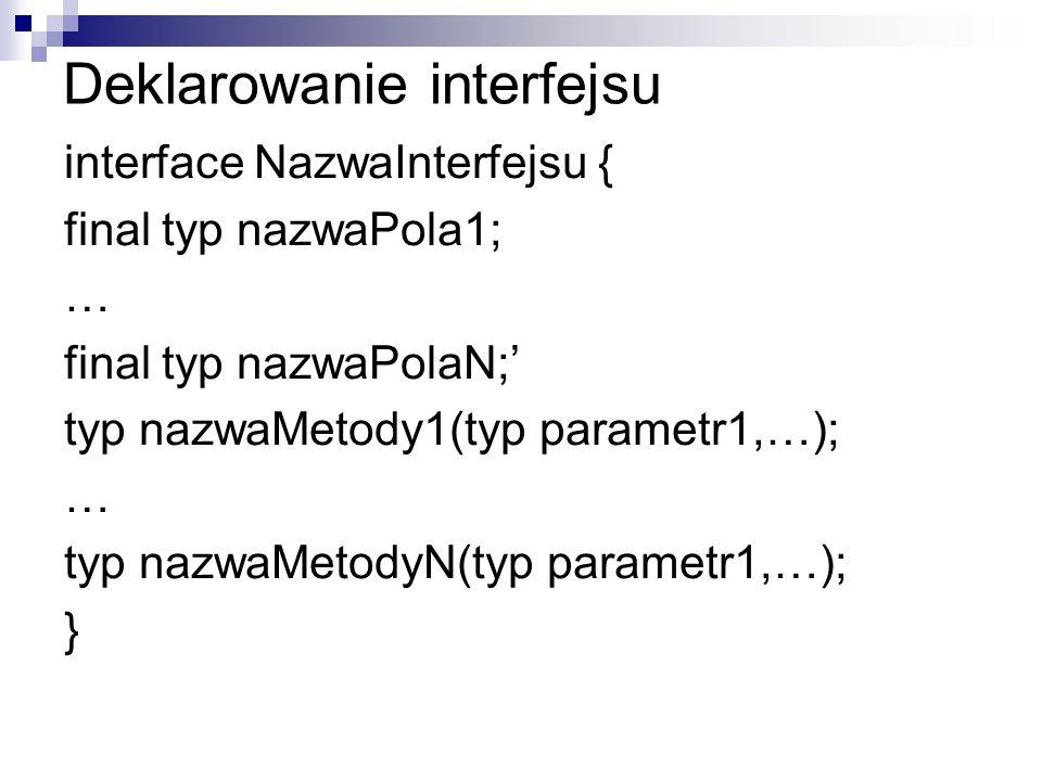 Deklarowanie interfejsu interface NazwaInterfejsu { final typ nazwaPola1; … final typ nazwaPolaN; typ nazwaMetody1(typ parametr1,…); … typ nazwaMetodyN(typ parametr1,…); }