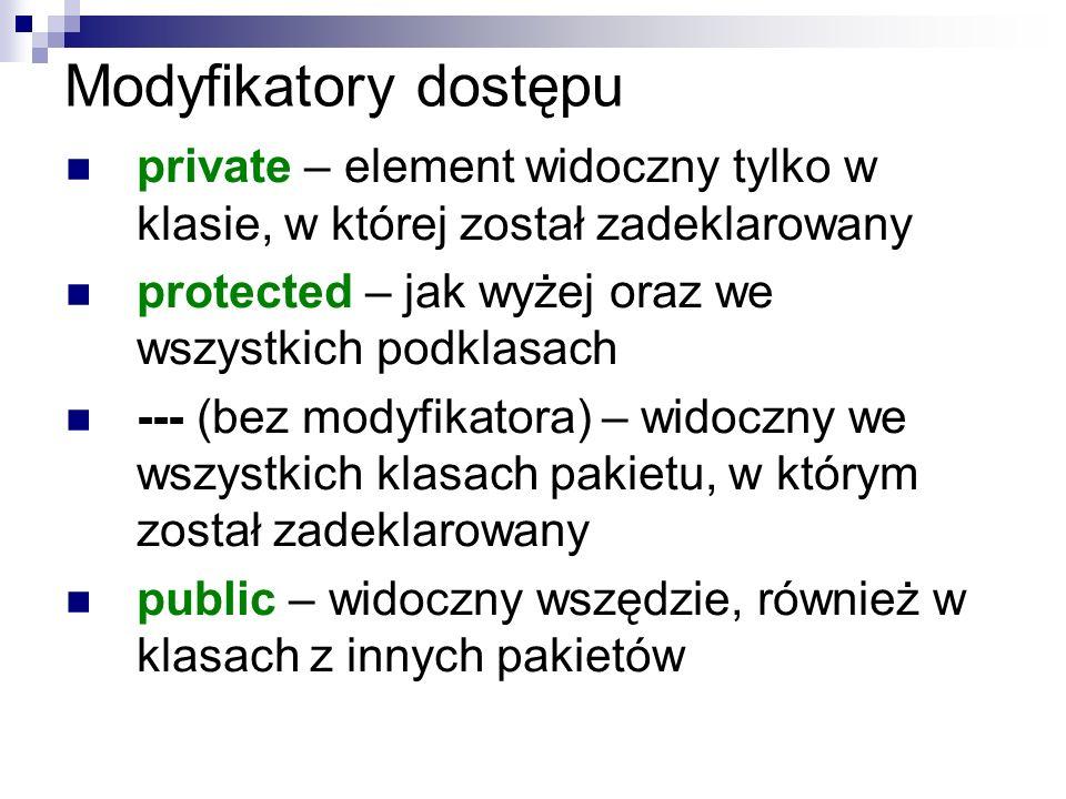Modyfikatory dostępu private – element widoczny tylko w klasie, w której został zadeklarowany protected – jak wyżej oraz we wszystkich podklasach --- (bez modyfikatora) – widoczny we wszystkich klasach pakietu, w którym został zadeklarowany public – widoczny wszędzie, również w klasach z innych pakietów