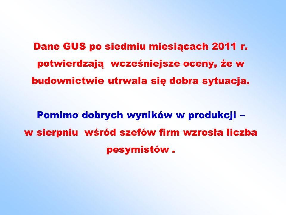 Dane GUS po siedmiu miesiącach 2011 r.