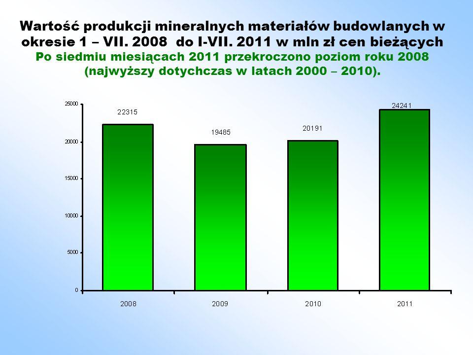 Wartość produkcji mineralnych materiałów budowlanych w okresie 1 – VII.