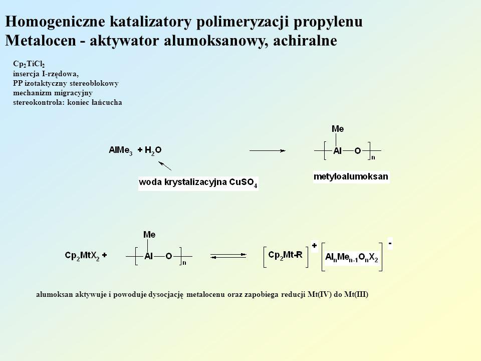 Homogeniczne katalizatory polimeryzacji propylenu Metalocen - aktywator alumoksanowy, achiralne Cp 2 TiCl 2 insercja I-rzędowa, PP izotaktyczny stereo