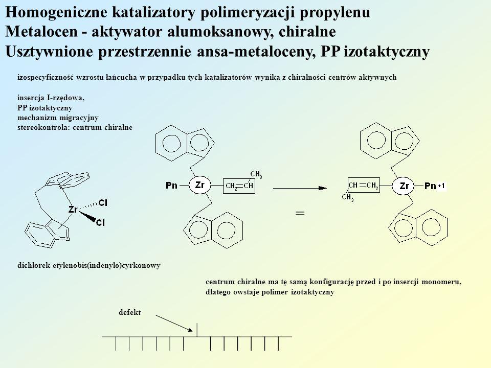 Homogeniczne katalizatory polimeryzacji propylenu Metalocen - aktywator alumoksanowy, chiralne Usztywnione przestrzennie ansa-metaloceny, PP izotaktyczny czynnikiem decydującym o izospecyficzności jest obecność podstawnika przy węglu anionu cyklopentadienylowego = defekt