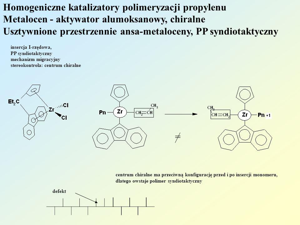 Homogeniczne katalizatory polimeryzacji propylenu Metalocen - aktywator alumoksanowy, chiralne Usztywnione przestrzennie ansa-metaloceny, PP syndiotak