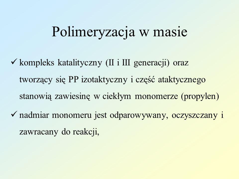Polimeryzacja w masie kompleks katalityczny (II i III generacji) oraz tworzący się PP izotaktyczny i część ataktycznego stanowią zawiesinę w ciekłym monomerze (propylen) nadmiar monomeru jest odparowywany, oczyszczany i zawracany do reakcji,