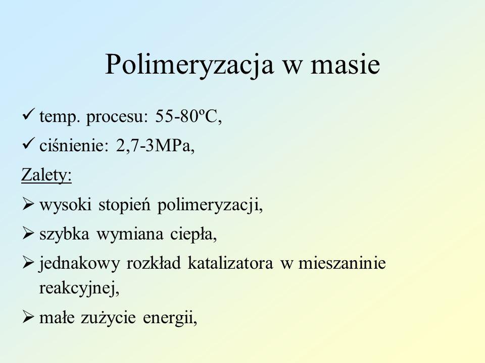 Polimeryzacja w masie temp. procesu: 55-80ºC, ciśnienie: 2,7-3MPa, Zalety: wysoki stopień polimeryzacji, szybka wymiana ciepła, jednakowy rozkład kata