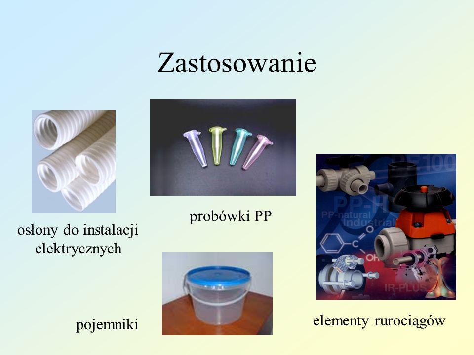 Przetwórstwo Może być przetwarzany metodami: wtrysku, wytłaczania, wytłaczania z rozdmuchem, prasowania, formowania próżniowego, nakładania powłok metodą fluidyzacji i natrysku płomieniowego, przędzenia włókien ze stopu, wytwarzania spienionych wyrobów,