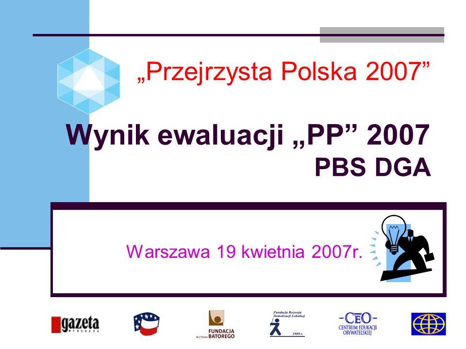 Przejrzysta Polska 2007 Wynik ewaluacji PP 2007 PBS DGA Warszawa 19 kwietnia 2007r.