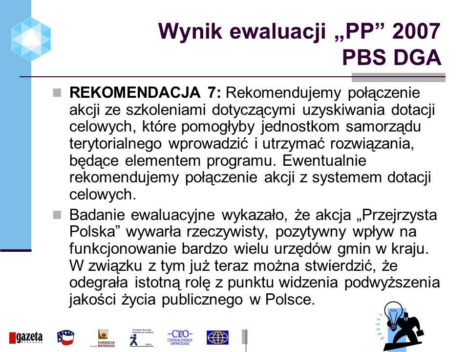 Wynik ewaluacji PP 2007 PBS DGA REKOMENDACJA 7: Rekomendujemy połączenie akcji ze szkoleniami dotyczącymi uzyskiwania dotacji celowych, które pomogłyby jednostkom samorządu terytorialnego wprowadzić i utrzymać rozwiązania, będące elementem programu.