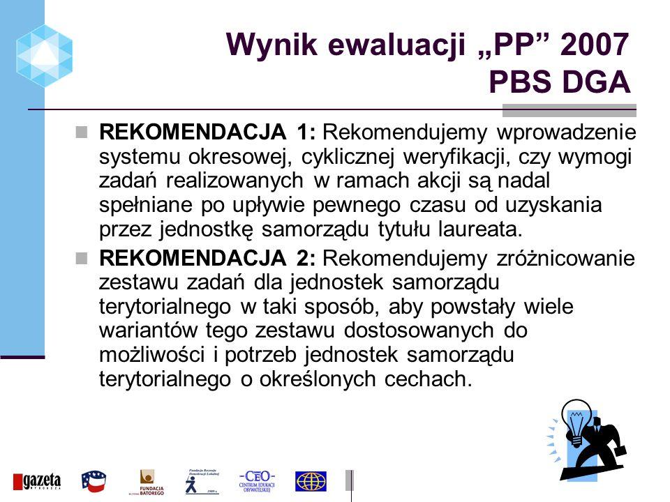 Wynik ewaluacji PP 2007 PBS DGA REKOMENDACJA 1: Rekomendujemy wprowadzenie systemu okresowej, cyklicznej weryfikacji, czy wymogi zadań realizowanych w ramach akcji są nadal spełniane po upływie pewnego czasu od uzyskania przez jednostkę samorządu tytułu laureata.