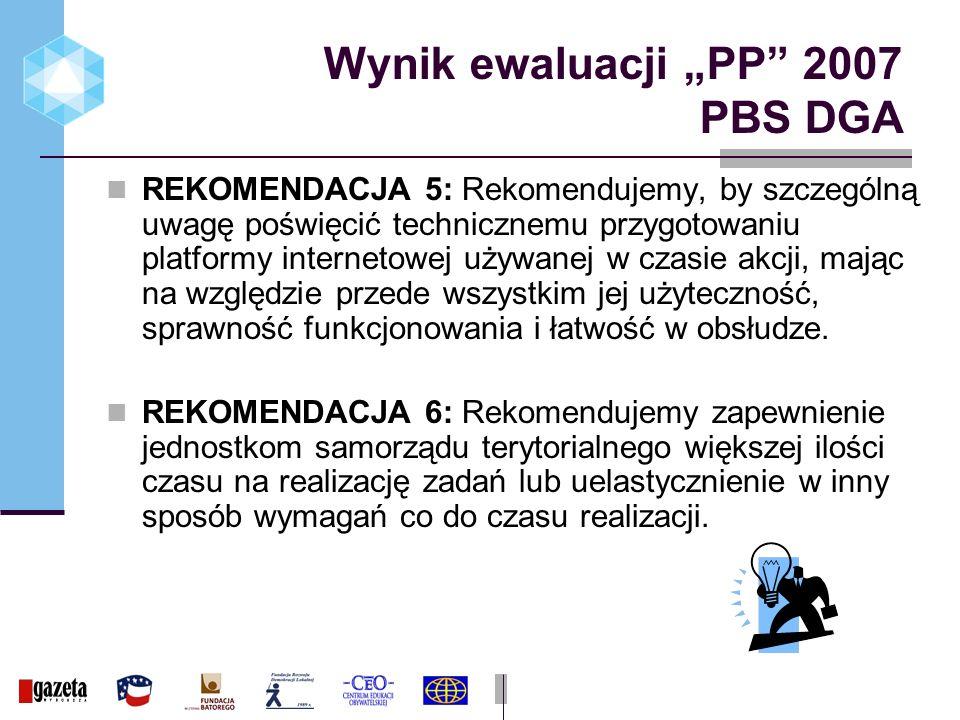 Wynik ewaluacji PP 2007 PBS DGA REKOMENDACJA 5: Rekomendujemy, by szczególną uwagę poświęcić technicznemu przygotowaniu platformy internetowej używanej w czasie akcji, mając na względzie przede wszystkim jej użyteczność, sprawność funkcjonowania i łatwość w obsłudze.