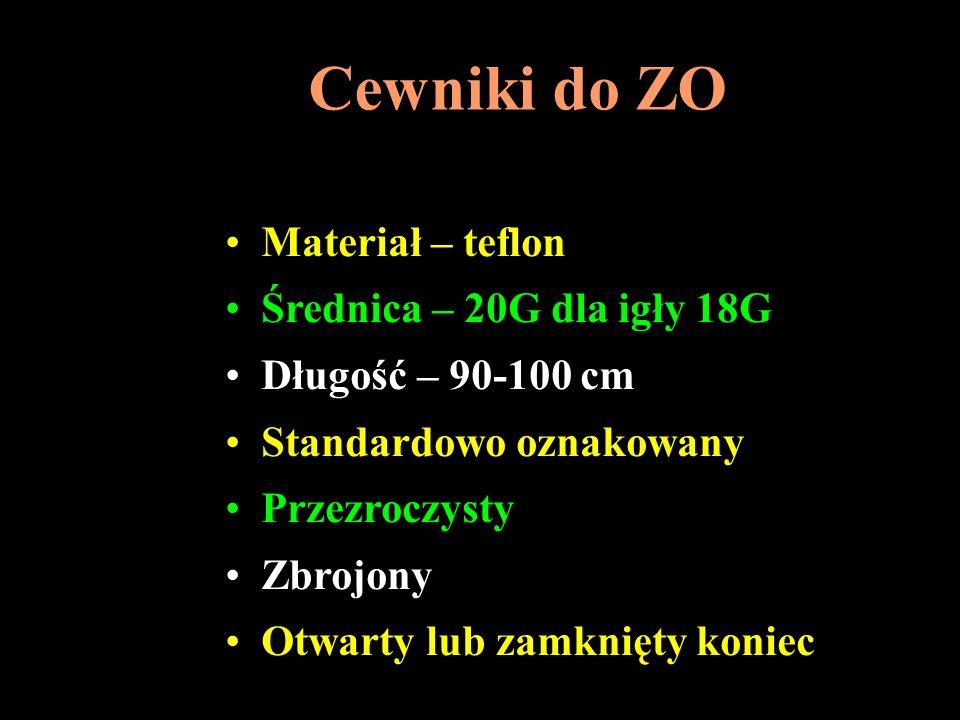 Cewniki do ZO Materiał – teflon Średnica – 20G dla igły 18G Długość – 90-100 cm Standardowo oznakowany Przezroczysty Zbrojony Otwarty lub zamknięty ko