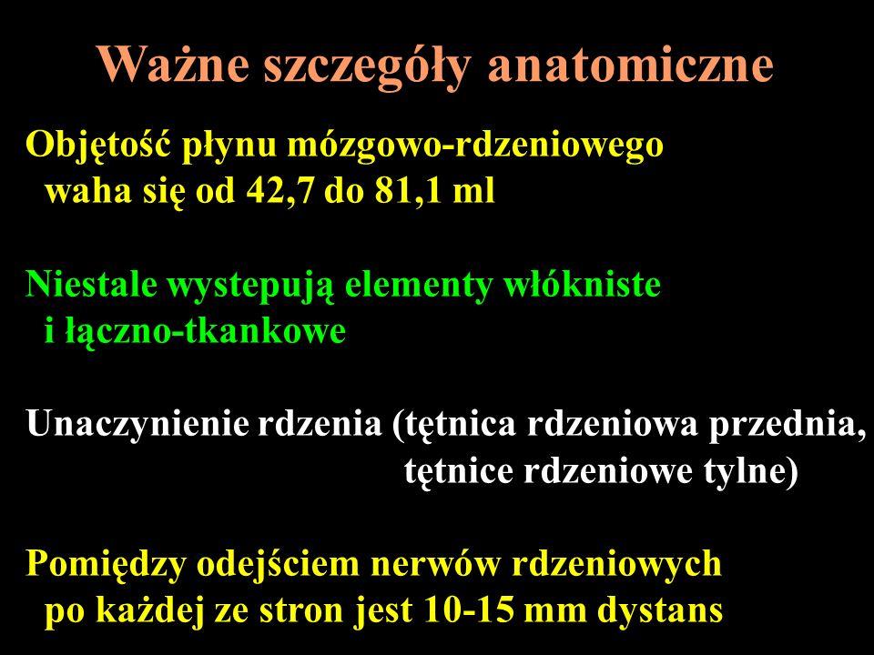 Ważne szczegóły anatomiczne Objętość płynu mózgowo-rdzeniowego waha się od 42,7 do 81,1 ml Niestale wystepują elementy włókniste i łączno-tkankowe Una