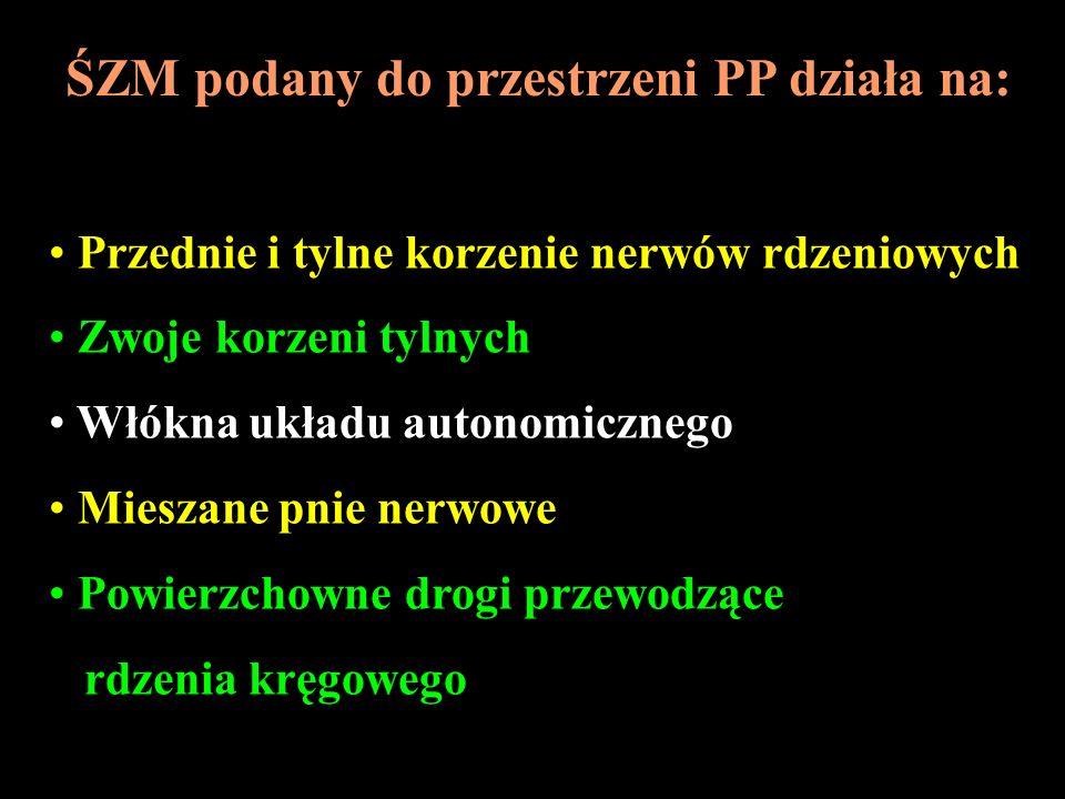 ŚZM podany do przestrzeni PP działa na: Przednie i tylne korzenie nerwów rdzeniowych Zwoje korzeni tylnych Włókna układu autonomicznego Mieszane pnie