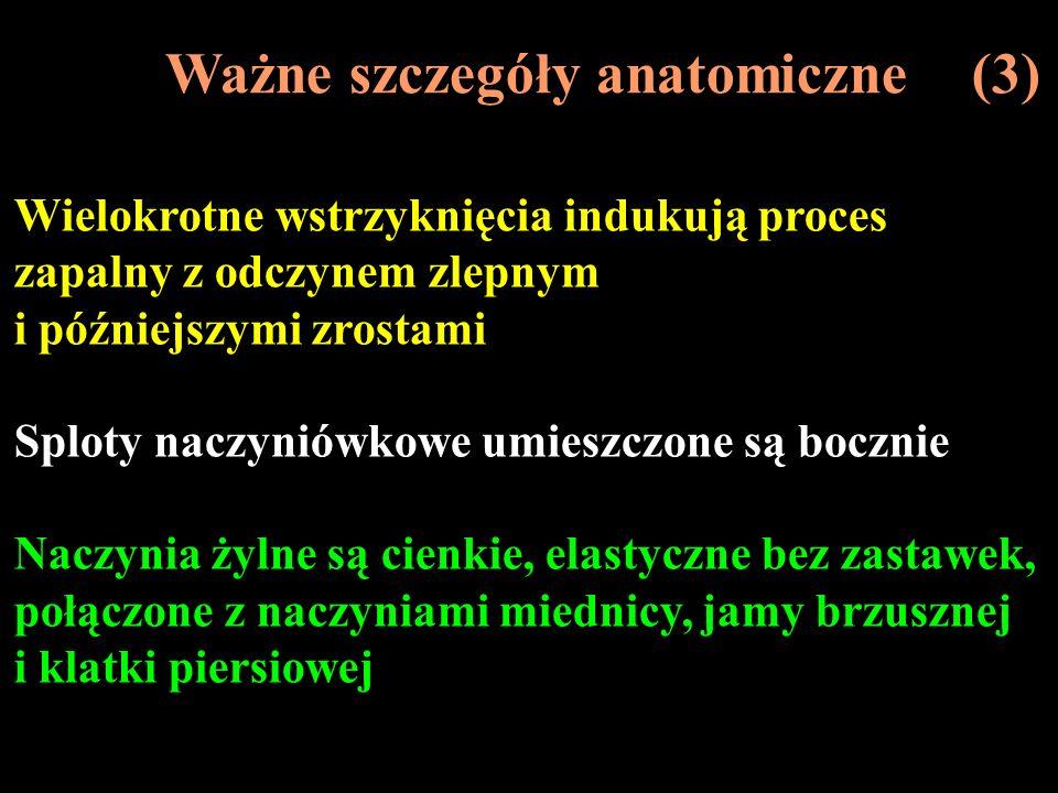 Ważne szczegóły anatomiczne (3) Wielokrotne wstrzyknięcia indukują proces zapalny z odczynem zlepnym i późniejszymi zrostami Sploty naczyniówkowe umie