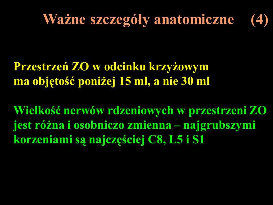 Ważne szczegóły anatomiczne (4) Przestrzeń ZO w odcinku krzyżowym ma objętość poniżej 15 ml, a nie 30 ml Wielkość nerwów rdzeniowych w przestrzeni ZO