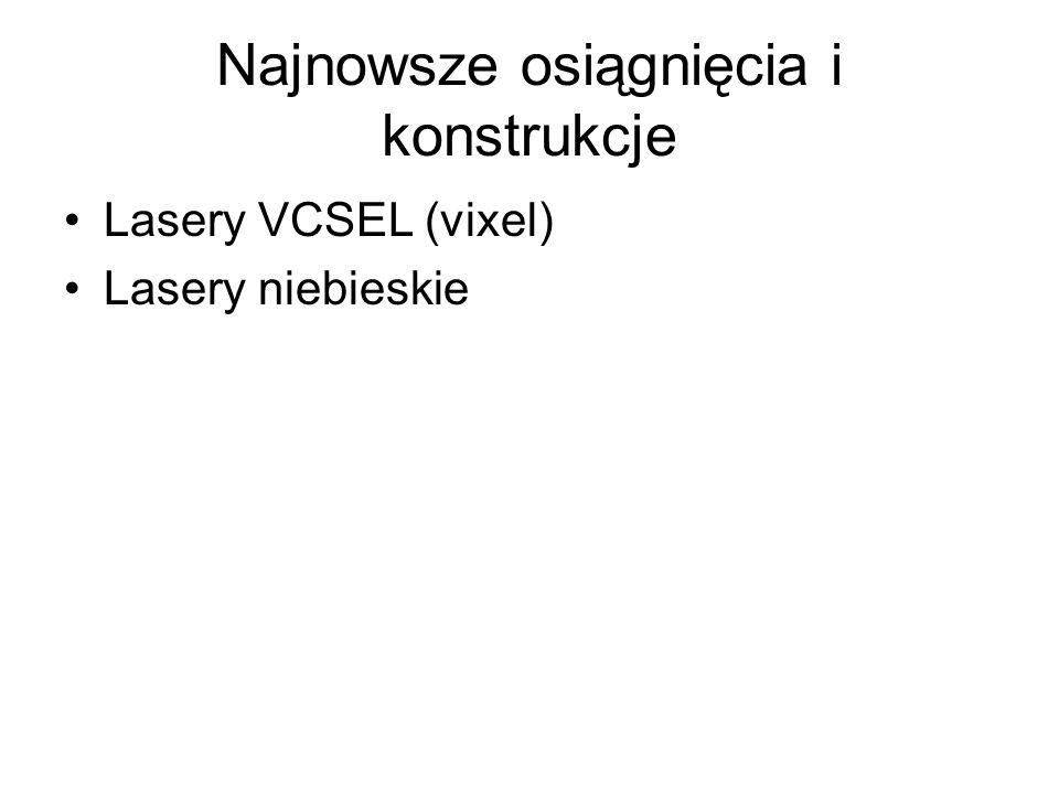 Najnowsze osiągnięcia i konstrukcje Lasery VCSEL (vixel) Lasery niebieskie
