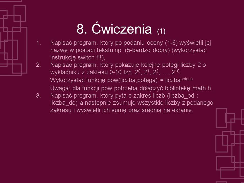 8. Ćwiczenia (1) 1.