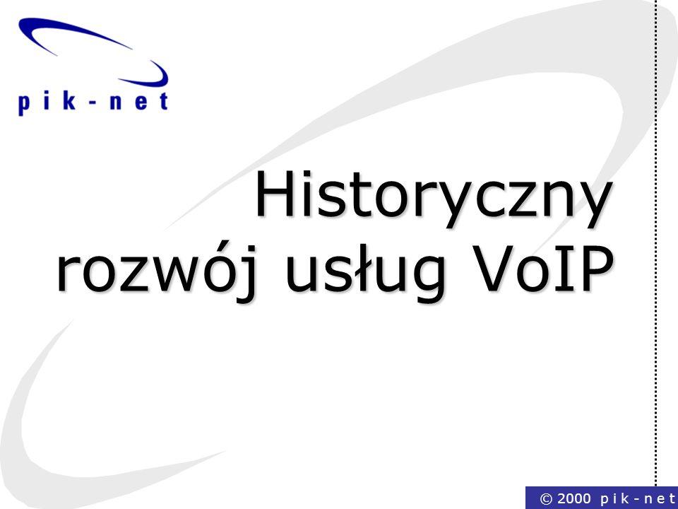 © 2000 p i k - n e t Historyczny rozwój usług VoIP