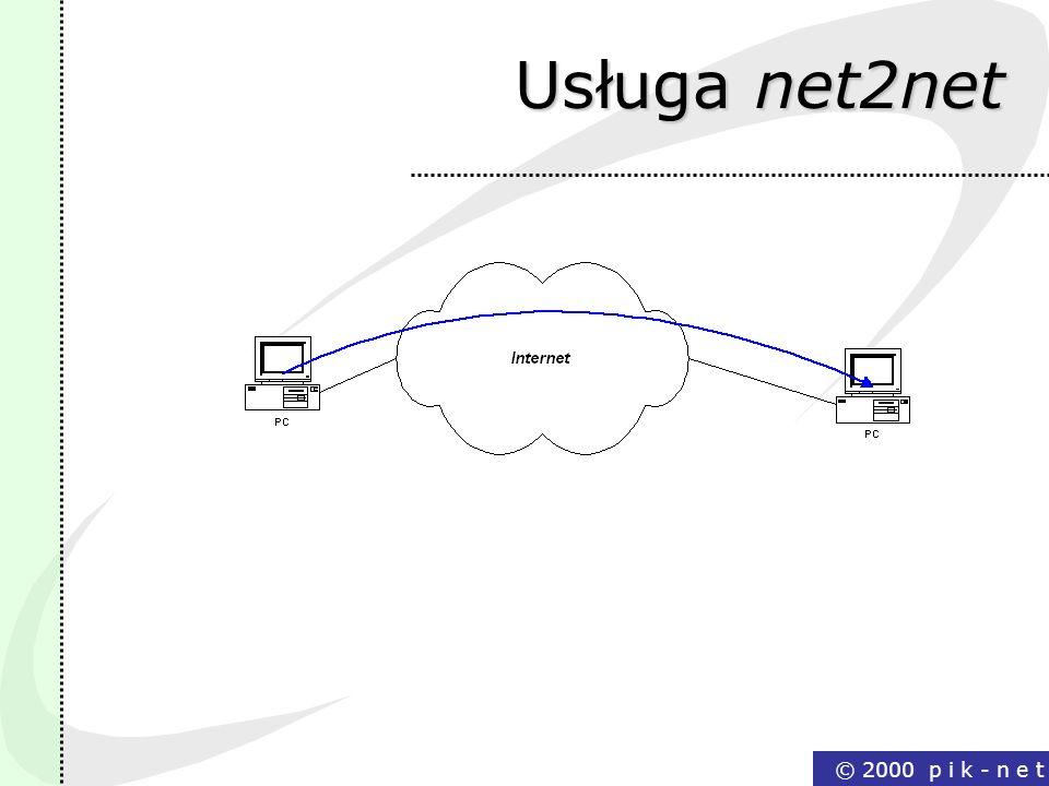 © 2000 p i k - n e t Usługa net2net