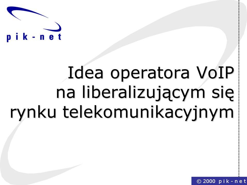© 2000 p i k - n e t Idea operatora VoIP na liberalizującym się rynku telekomunikacyjnym