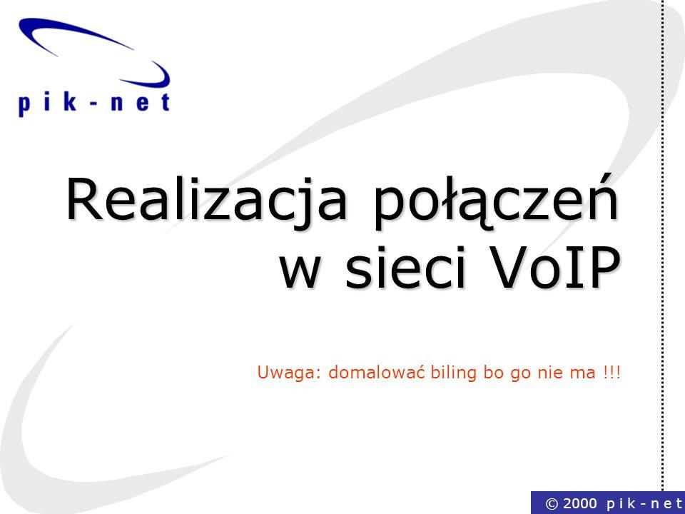 Realizacja połączeń w sieci VoIP Uwaga: domalować biling bo go nie ma !!!