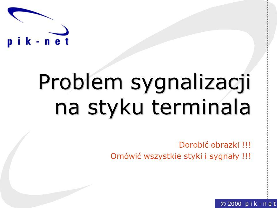 © 2000 p i k - n e t Problem sygnalizacji na styku terminala Dorobić obrazki !!! Omówić wszystkie styki i sygnały !!!