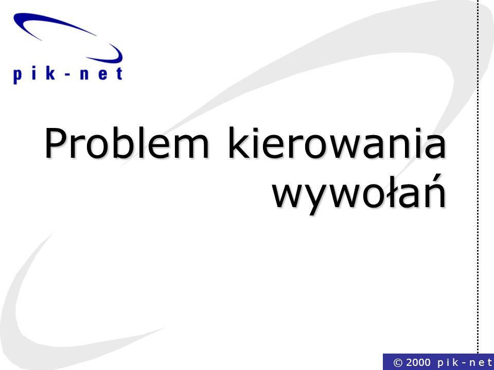 © 2000 p i k - n e t Problem kierowania wywołań