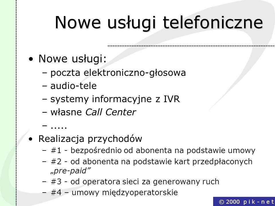 © 2000 p i k - n e t Nowe usługi telefoniczne Nowe usługi: –poczta elektroniczno-głosowa –audio-tele –systemy informacyjne z IVR –własne Call Center –