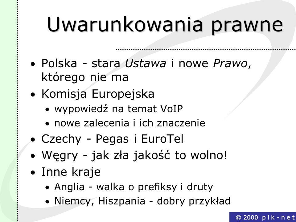 © 2000 p i k - n e t Uwarunkowania prawne Polska - stara Ustawa i nowe Prawo, którego nie ma Komisja Europejska wypowiedź na temat VoIP nowe zalecenia