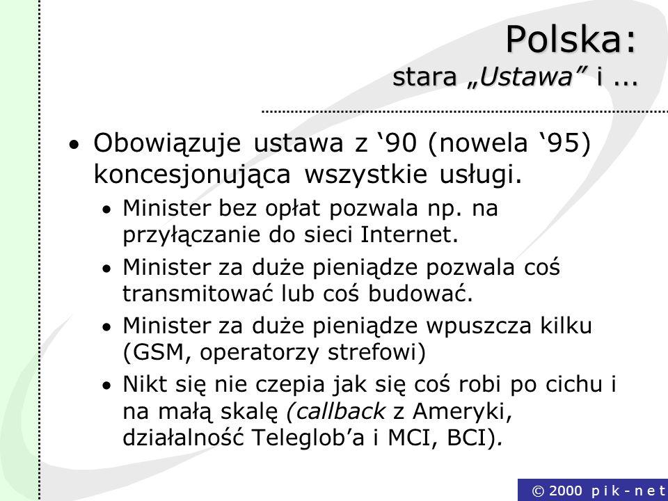 © 2000 p i k - n e t Polska: stara Ustawa i... Obowiązuje ustawa z 90 (nowela 95) koncesjonująca wszystkie usługi. Minister bez opłat pozwala np. na p