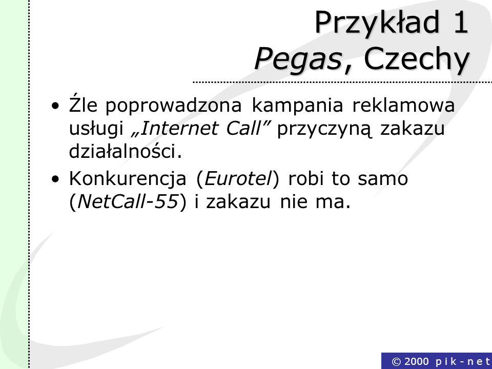 © 2000 p i k - n e t Przykład 1 Pegas, Czechy Źle poprowadzona kampania reklamowa usługi Internet Call przyczyną zakazu działalności. Konkurencja (Eur