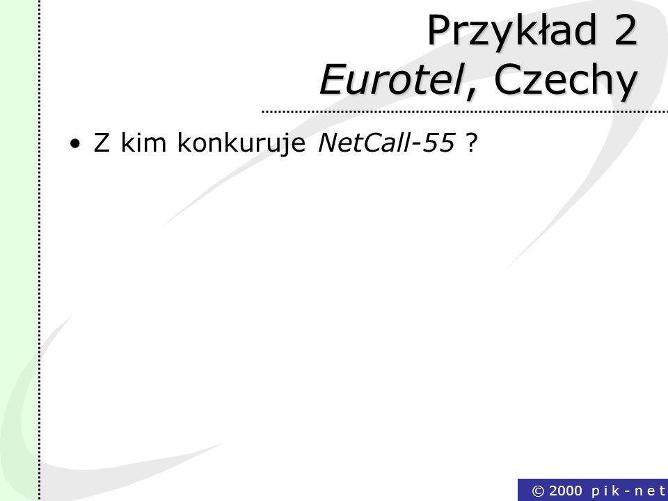 © 2000 p i k - n e t Przykład 2 Eurotel, Czechy Z kim konkuruje NetCall-55 ?