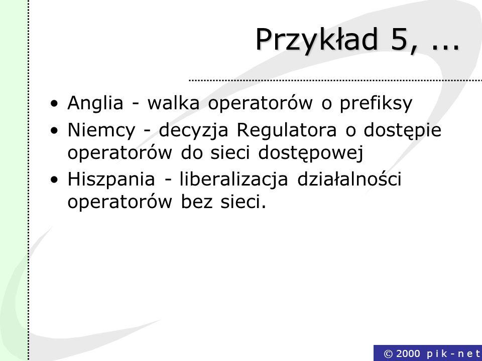 © 2000 p i k - n e t Przykład 5,... Anglia - walka operatorów o prefiksy Niemcy - decyzja Regulatora o dostępie operatorów do sieci dostępowej Hiszpan