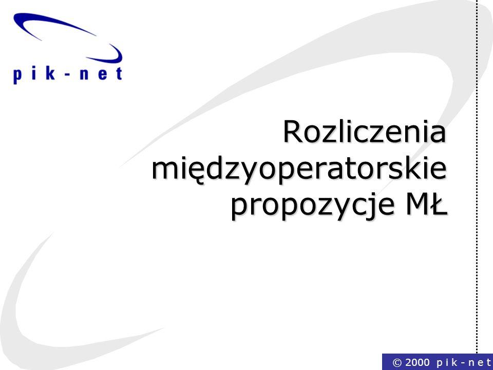 © 2000 p i k - n e t Rozliczenia międzyoperatorskie propozycje MŁ