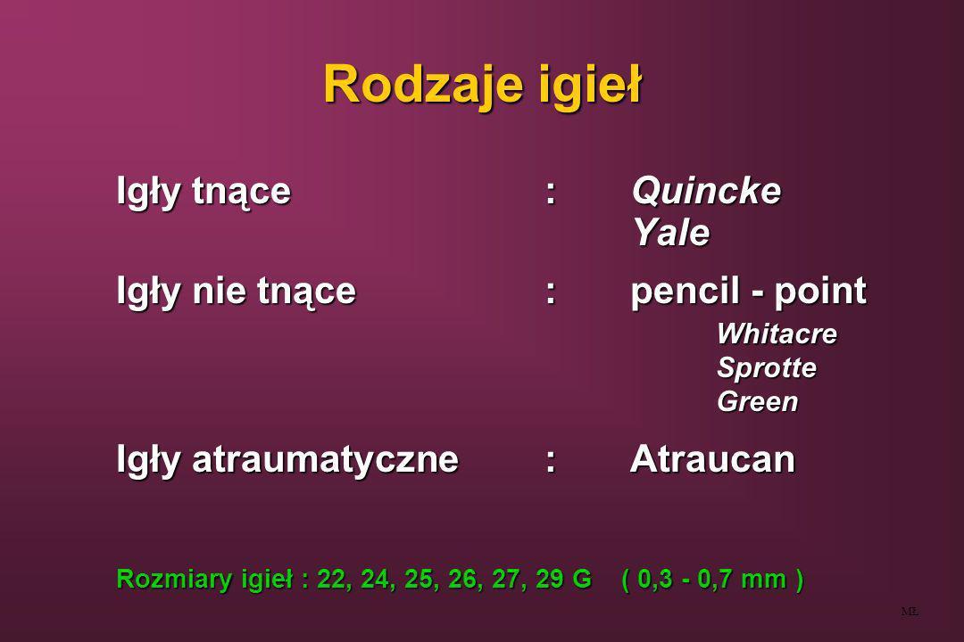 Rodzaje igieł Igły tnące:Quincke Yale Igły nie tnące:pencil - point WhitacreSprotteGreen Igły atraumatyczne:Atraucan Rozmiary igieł : 22, 24, 25, 26,