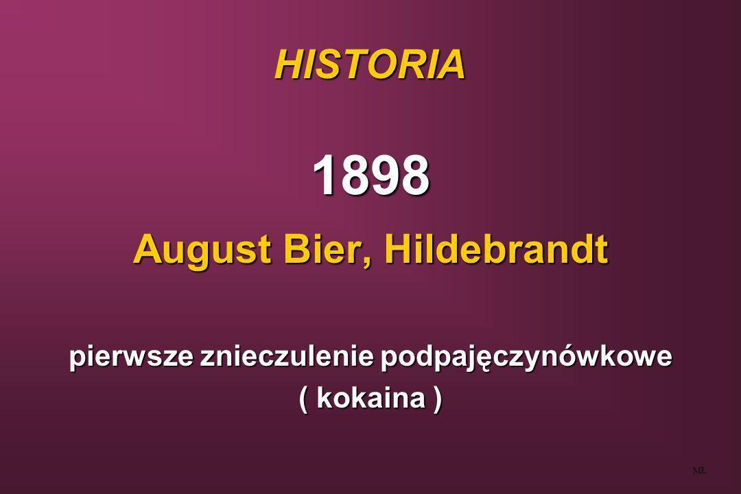 HISTORIA 1904- stovaina 1935- Sise - technika hiperbaryczna ( tetrakaina + glukoza ) 1944- Tuohy - technika znieczulenia ciągłego MŁ